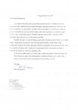 Dopis Miloše Kratochvíla